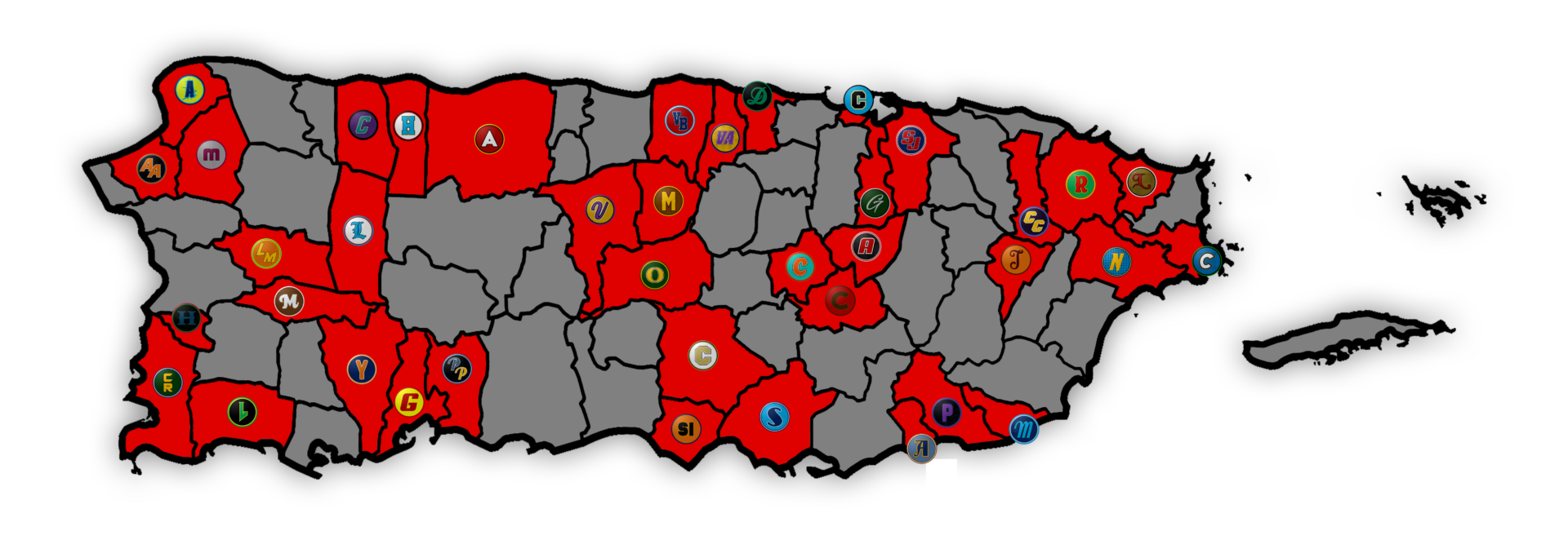 A map of Puerto Rico on which the towns with teams in the Liga Betances are colored in red, with the teams' logos superimposed on the town.