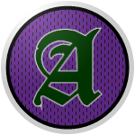 "The logo of the Santos de Adjuntas: a green gothic ""A"" bordered in white on a purple circle streaked with black dots, bordered with black and then white."