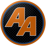"The logo of the Arzobispos de Aguada: orange ""AA"" in a bold font bordered in white on a black circle with blue speckling, bordered in orange."