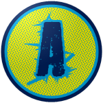 "The logo of the Tiburones de Aguadilla: A navy-blue ""A"" with weird irregular stylings in blue, against a yellow circle pockmarked with navy dots, bordered in blue and then navy."