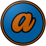 "The logo of the Polluelos de Aibonito: a lowercase serif ""a"" in orange, bordered in black, on a blue circle bordered in black, then orange, then black."