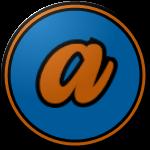 "The logo of the Polluelos de Aibonito: a lowercase serif ""a"" in orange, bordered in black, on a blue circle bordered in black, then orange, then black."