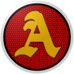 "The logo of the Fundadores de Añasco: a golden capital ""A"" in Gothic font on a red circle streaked through with black patterning, bordered in black and then white."