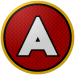 "The logo of the Lobos de Arecibo: a white ""A"" against a red circle with narrow black vertical lines, bordered in black and then gold."