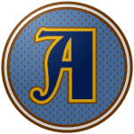 """The logo of the Bucaneros de Arroyo: a navy """"A"""" in fancy font, bordered in gold and brown, on top of a light blue circle studded with brown, bordered in brown-white-brown."""