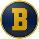 The logo of the Marineros de Barceloneta: a golden B in stencil type on a circle of blue and navy in alternating horizontal stripes, bordered in blue and then gold.