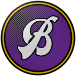 "The logo of the Próceres de Barranquitas: a very fancy white ""B"" on a purple circle bordered in black-gold-black."