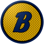 The logo of the Vaqueros de Bayamón: a navy blue B bordered in black against a golden circle streaked with small black lines, bordered in navy.