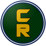 "The logo of the Combatientes de Cabo Rojo: a gold ""CR"" in modern font, bordered in black, on a green circle studded with black dots, bordered in navy-white-navy."