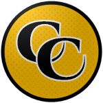 "The logo of the Criollos de Caguas: black ""CC"" in bold serif type, bordered in white, on a gold circle with very faint black patterning, bordered in black."