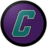 "The logo of the Murciélagos de Camuy: a teal ""C"" in italic athletic block type bordered in white, on a purple circle with black patterning, bordered in black."