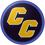"The logo of the Chupacabras de Canóvanas: gold ""CC"" letters in thick type, bordered in white, on top of a black circle striped thoroughly with purple, bordered with purple, blue, and purple."