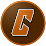 """The logo of the Gigantes de Carolina: an orange """"C"""" in slanted modern angular font, bordered in white and then dark brown, on a brown circle bordered in orange."""