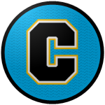 The logo of the Guardacostas de Cataño: a black C, bordered in white and then gold, on a sky-blue circle.