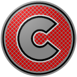 "The logo of the Toritos de Cayey: a silver ""C"" with a black and then a white border on a red circle crisscrossed with gray, bordered in gray-black-gray concentric circles."