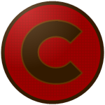 "The logo of the Palomas de Cidra: a dark brown ""C"" in copperplate font, bordered in paler brown, on a red circle gridded with more of the brown, bordered in coffee brown."