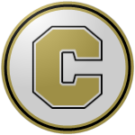 "The logo of the Maratonistas de Coamo: a pale golden ""C"" in thick block type on a white circle bordered in pale gold, black, and pale gold again."