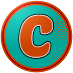 "The logo of the Guabaleros de Comerío: a goofy orange ""C"" in quirky type, bordered in white and then black, on a seafoam green circle with orange dots, bordered in orange, red, and orange."
