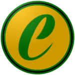"The logo of the Plataneros de Corozal: a swashed green ""C"" on a gold circle, bordered in green-black-green."