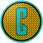 """The logo of the Tortugas de Culebra: a light aquamarine """"C"""" on a gold circle with a shell pattern in black, bordered in black and aquamarine."""