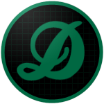 "The logo of the Guardianes de Dorado: a green ""D"" in fancy script on a black circle gridded with green, bordered in green."
