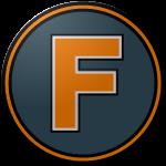 """The logo of the Cariduros de Fajardo: a saffron """"F"""" on a steel circle bordered in black-saffron-steel."""