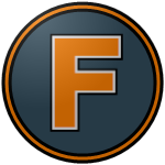 "The logo of the Cariduros de Fajardo: a saffron ""F"" on a steel circle bordered in black-saffron-steel."