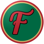 "The logo of the Mogotes de Florida: a red ""F"" bordered in black on a green circle, bordered in yellow and red."