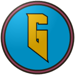 "The logo of the Amigos de Guánica: a gold ""G"" with a deep angled bottom corner, bordered in black on a circle of light blue, bordered itself in black, pink, and black again."