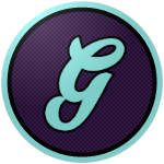 "The logo of the Brujos de Guayama: a very light blue ""G"" in cursive on a dark purple circle, bordered in that very light blue."