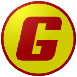 "The logo of the Eléctricos de Guayanilla: a bold red ""G"" in square type on a yellow circle bordered in red."