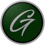 "The logo of the Conquistadores de Guaynabo: A silver ""G"" in thin script on a green circle, bordered in black and silver."