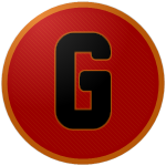 "The logo of the Taínos de Gurabo: a simple black ""G"" on a red circle bordered in orange."