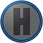 "The logo of the Grises de Humacao: a tall ""H"" in dark gray, bordered in black, on a silver circle studded with gray, bordered in navy, cyan, then navy."