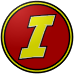 "The logo of the Gallitos de Isabela: a yellow ""I"" in bold comic type, bordered in black, on a red circle bordered in black-yellow-black."