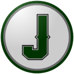"The logo of the Cerros de Jayuya: a dark green ""J"" in boss type, on a white circle bordered in silver and dark green."