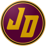 "The logo of the Reyes de Juana Díaz: a golden ""JD"" on a Roman purple circle bordered in gold, black and gold again."