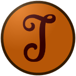 "The logo of the Valencianos de Juncos: a brown ""J"" in flowery cursive on an orange circle, bordered in brown."