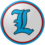 "The logo of the Patriotas de Lares: a light blue ""L"" in Old English type, bordered in black on a white circle bordered in red and sky-blue."