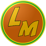 "The logo of the Cítricos de Las Marías: a quirky gold ""LM"" bordered in black on an orange circle, bordered in yellow, green, and yellow."