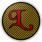 "The logo of the Soles de Luquillo: a dark red ""L"" in fancy curlicue font on a background of gold with black circles, bordered in black and then white."