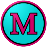 The logo of the Atenienses de Manatí: a hot pink M in a serif book style font, bordered in black, on a light blue circle, bordered in black and then hot pink.