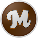 "The logo of the Cafeteros de Maricao: a white ""M"" in quirky font bordered in black and then orange, on a brown circle bordered in dark brown and white."