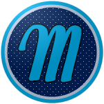 """The logo of the Jueyeros de Maunabo: a light blue """"M"""" in script on a navy circle studded with light blue stars, bordered in white and light blue."""