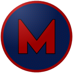 "The logo of the Capitanes de Mayagüez: a red ""M"" on a navy circle bordered in red."
