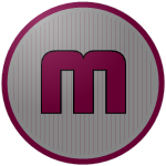 """The logo of the Rebeldes de Moca: a lowercase """"m"""" in maroon square font, bordered in black on a silver circle with thin maroon pinstripes, bordered in silver and maroon."""