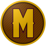 "The logo of the Titanes de Morovis: a capital ""M"" in gold narrow type, bordered in black and pink against a brown circle with black diagonal lines, bordered in black and gold."
