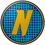 "The logo of the Navegadores de Naguabo: a gold ""N"" set off against a diamond pattern of sapphire blue and black, bordered in navy-gold-navy."