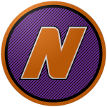 "The logo of the Changos de Naranjito: an orange ""N"" in an italicized font bordered in white and black, on a purple circle bordered in black and orange."