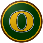 The logo of the Caciques de Orocovis: a gold, wide O bordered in black and white on a dark green circle, which itself is bordered in gold and brown.